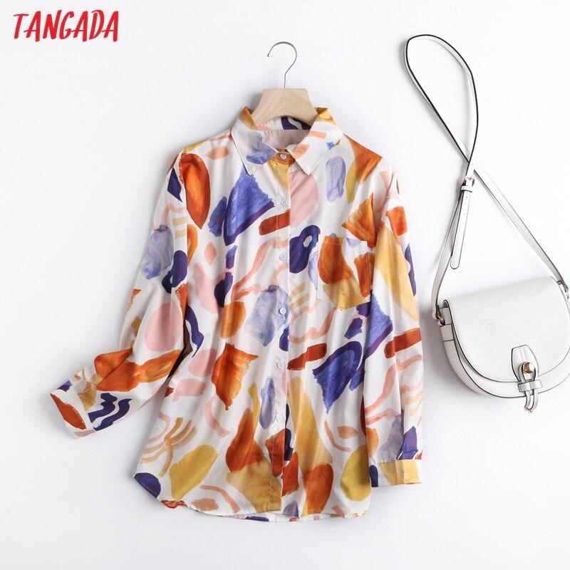 Tangada-Blusa holgada vintage de manga larga para otoño e invierno, camisa holgada elegante para mujer, 5M11, 2020