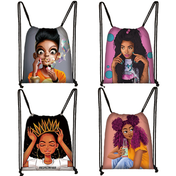 Cute Cartoon Afro Girls Drawstring Bag Black Brown Women Storage Bag Lady Fashion Backpack Africa Girls Travel Bags Gift