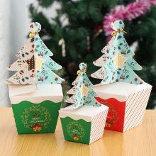 Christmas Tree Packing Box with Bells Golden Cord Chocolate Cupcakes Dessert Cookies Candy Gift Apple Packing Boxes Party Decor(China)