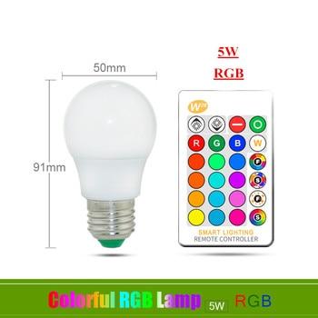 E27 E14 RGB Led Bulb 3W 5W 10W 15W Dimmable 16 Color Changing Magic Bulb Gu10  AC 220V 110V RGB White IR Remote  Night Light C3 14