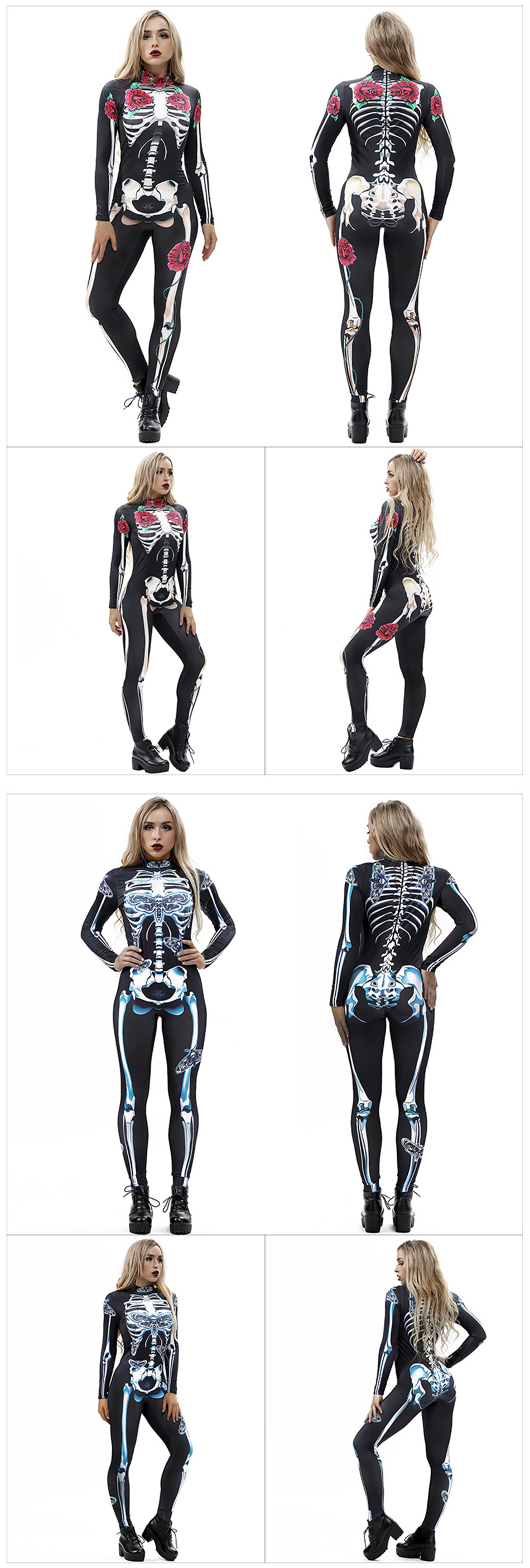 H0c51b9ce0d4644ccb9f5247d9d0e3c6aC - 8Style Halloween Cosplay Costumes for Women Adult Scary Skeleton Bodysuit Print Long Sleeve Carnival Party Ghost Skull Dress