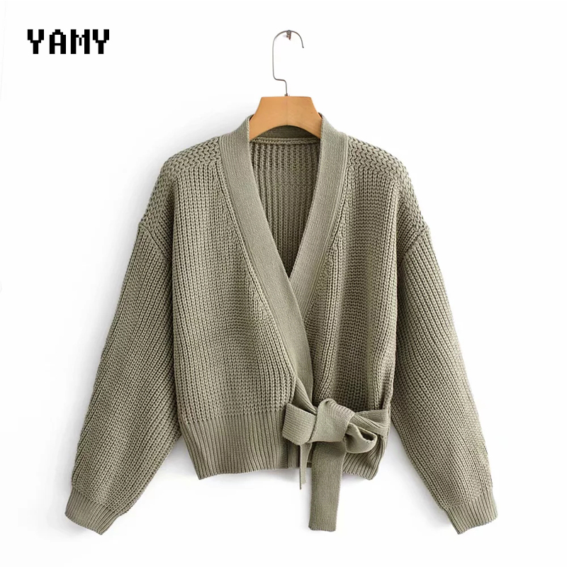 Top Quality Womens Green Sweater Long Sleeve Female Winter Cardigan With Sashes Chic Streetwear Womens Za Knit Top Sweater
