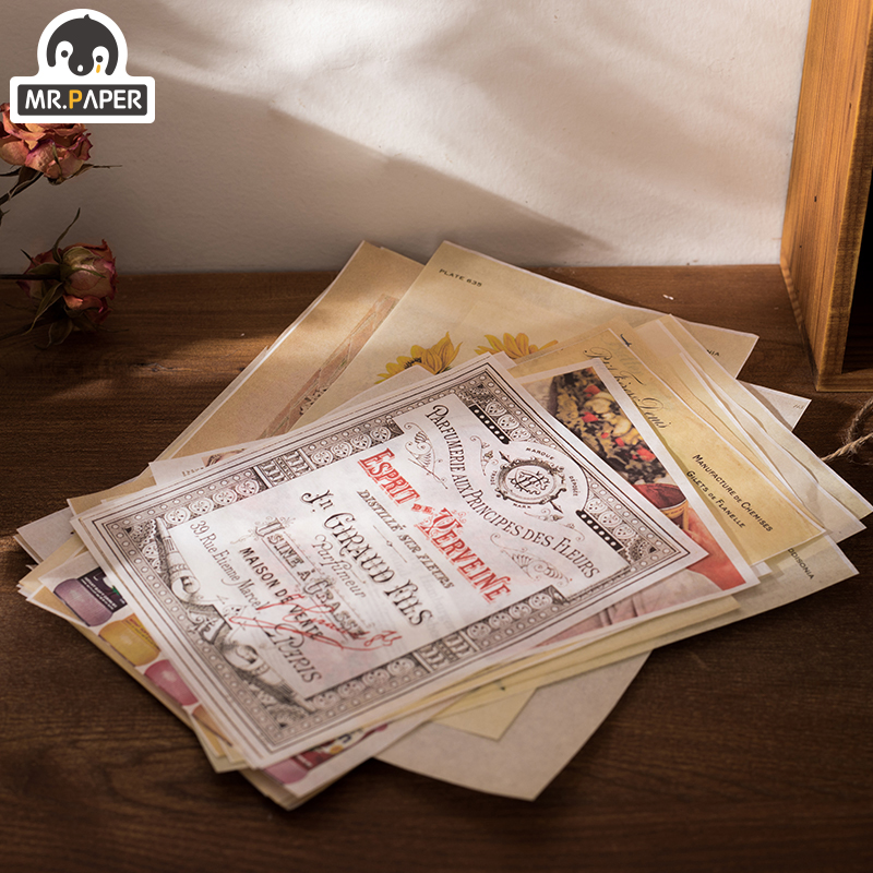 Mr.paper 40pcs/lot Europe Washi Material Journaling Bullet DIY Scrapbooking Background Card Deco Retro Hangtag with Hole LOMO 3