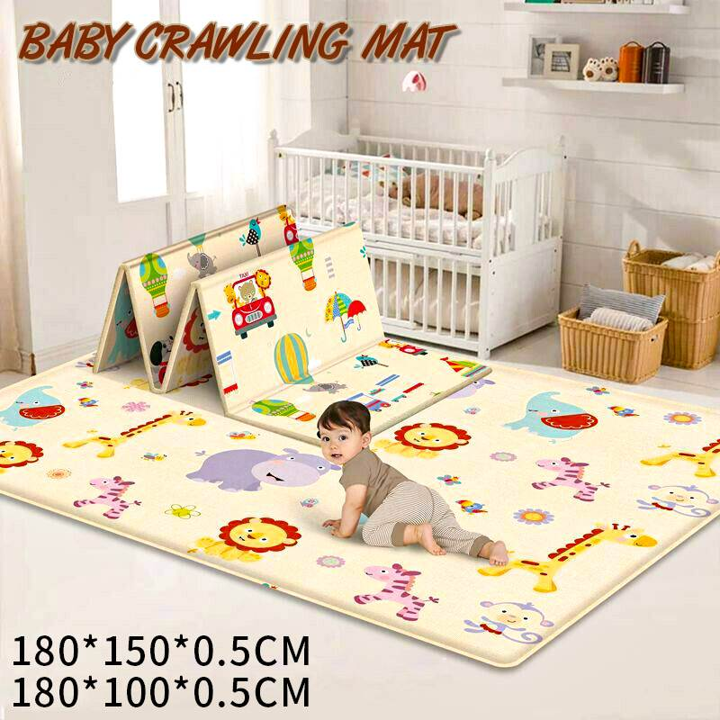 180X150X0.5cm Portable Cartoon Children Double-sided Folding Crawling Mat Thickened Baby Indoor Outdoor Crawling Pad Play Mat