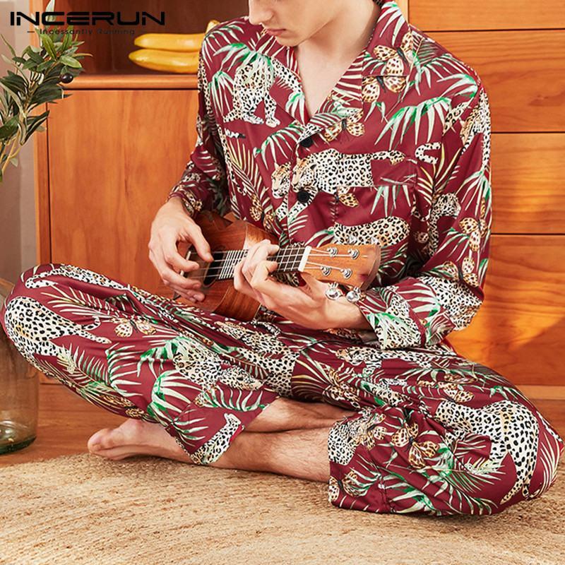 Fashion Printed Men Sleepwear Sets Faux Silk Satin Long Sleeve Tops Pants Comfortable Homewear 2 Pieces Men Pajamas Sets INCERUN