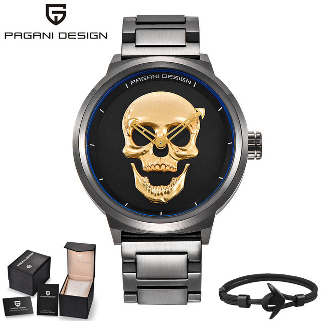 PAGANI DESIGN Quartz Luxury Creative Skull Punk Watch Men Stainless Steel Strap Waterproof Sport Business reloj hombre+Box+Gift | Fotoflaco.net