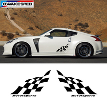 цена на 1 set Racing Lattices Vinyl Decals Both Side Car Door Stickers Motorsport Auto Body Decal For Audi Toyota KIA Mazda Honda BMW