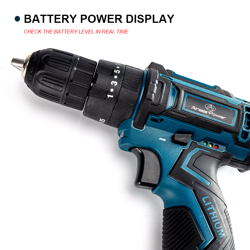 Tools : 12V Lithium Battery Screwdriver Charging Hand Drill 3 Functions Cordless Impact Drill Waterproof Comfortable Soft Rubber Handle