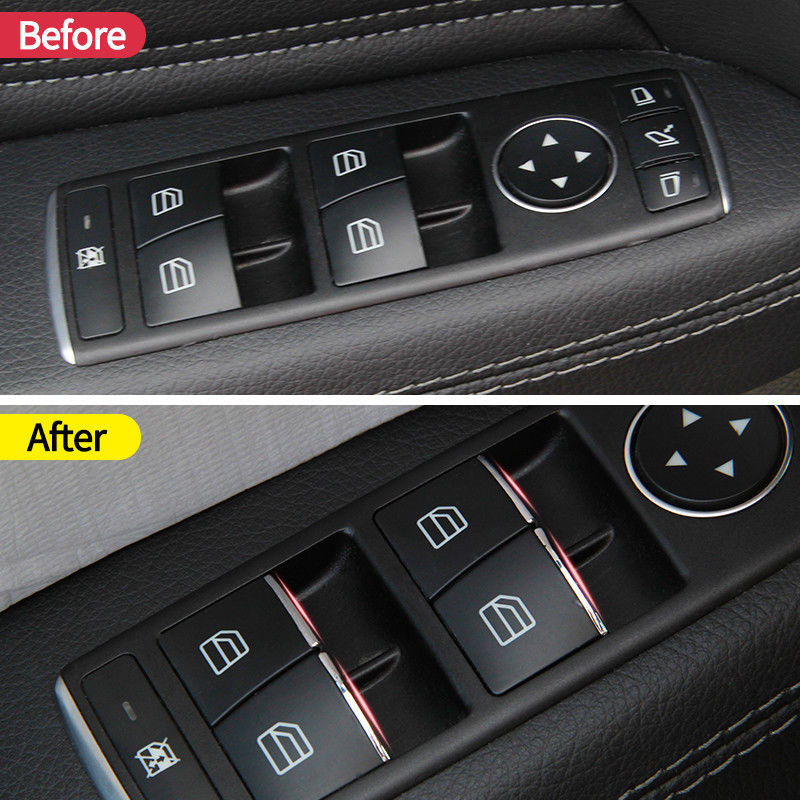 7PCS Door Lift Button Suitable Fit For <font><b>Mercedes</b></font>/<font><b>Benz</b></font> E W212 C W204 GLK X204 ML <font><b>GL</b></font> W166 <font><b>X166</b></font> Interior Mouldings car <font><b>accessories</b></font> image