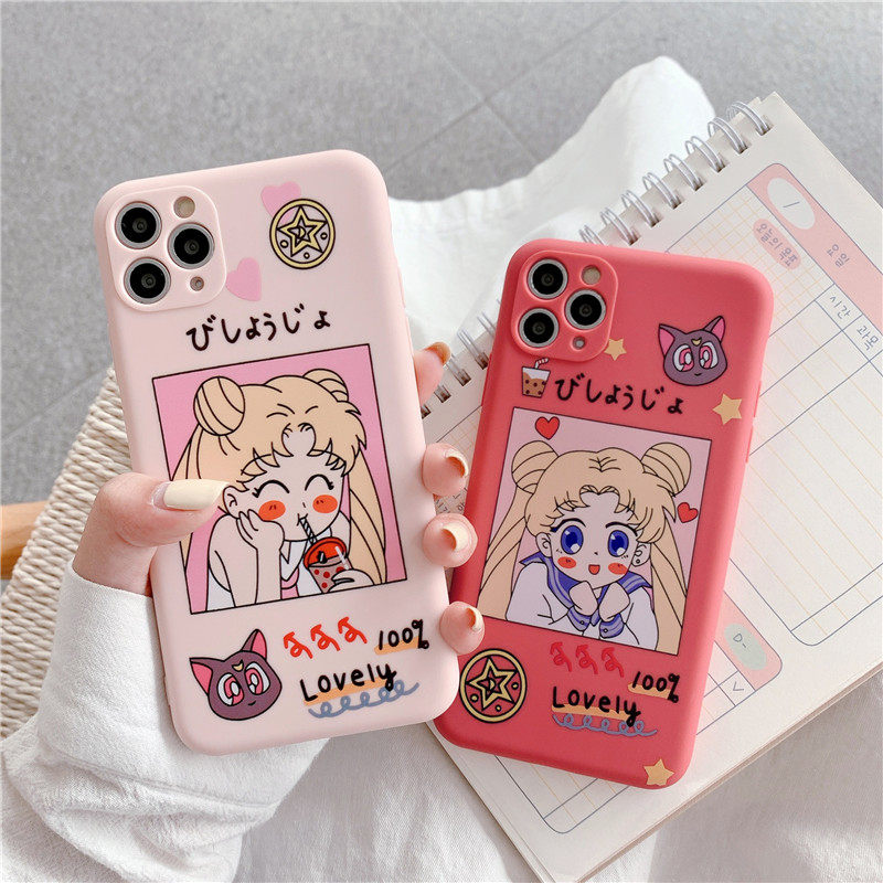 Cartoon Sailor Moon Simple Cute Phone Case For iPhone XS 11 Pro MAX X XS Case Liquid Silicone Cover For iPhone 7 6 S 8 Plus Case