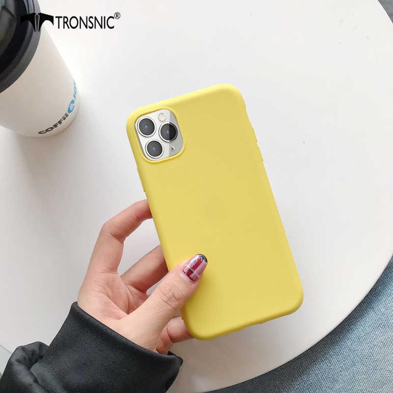 Padat Warna Hijau untuk iPhone 11 Pro Max XR X XS Max Matte Hitam Biru Lembut Kasus Mewah untuk Iphone 6 6 S 7 7 Plus Cover