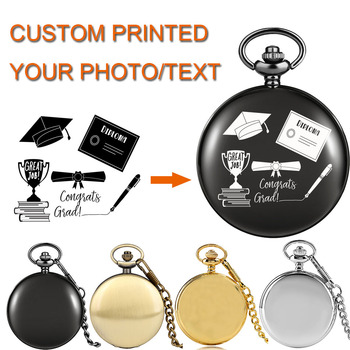 Personalized Printed Photo/Text Quartz Pocket Watch with Box Pendant Clock Gifts Anniversary/Birthday/Graduation/Wedding - discount item  36% OFF Pocket & Fob Watches