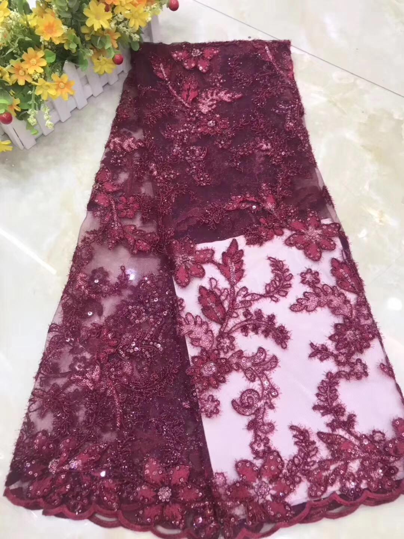 Nieuw Roze 2019 Afrikaanse Kralen Tulle Lace Stof Hoge Hoge Kwaliteit QS-24
