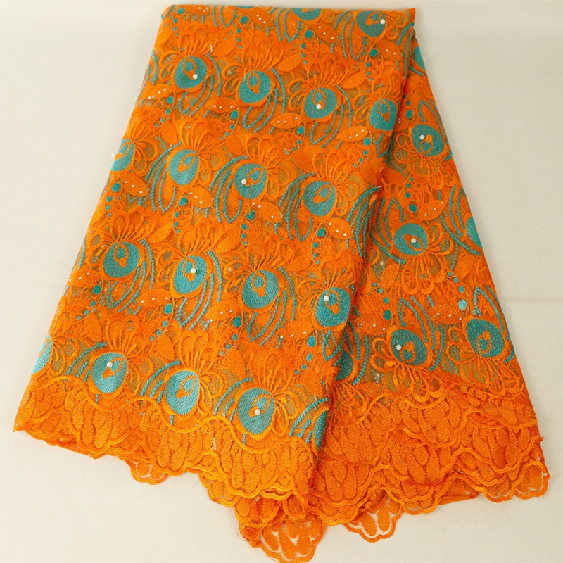 High Quality Orange African Beaded Lace Fabric 2019 French Voile Lace For Wedding Party Dresses Embroidered Nigerian Lace Fabric