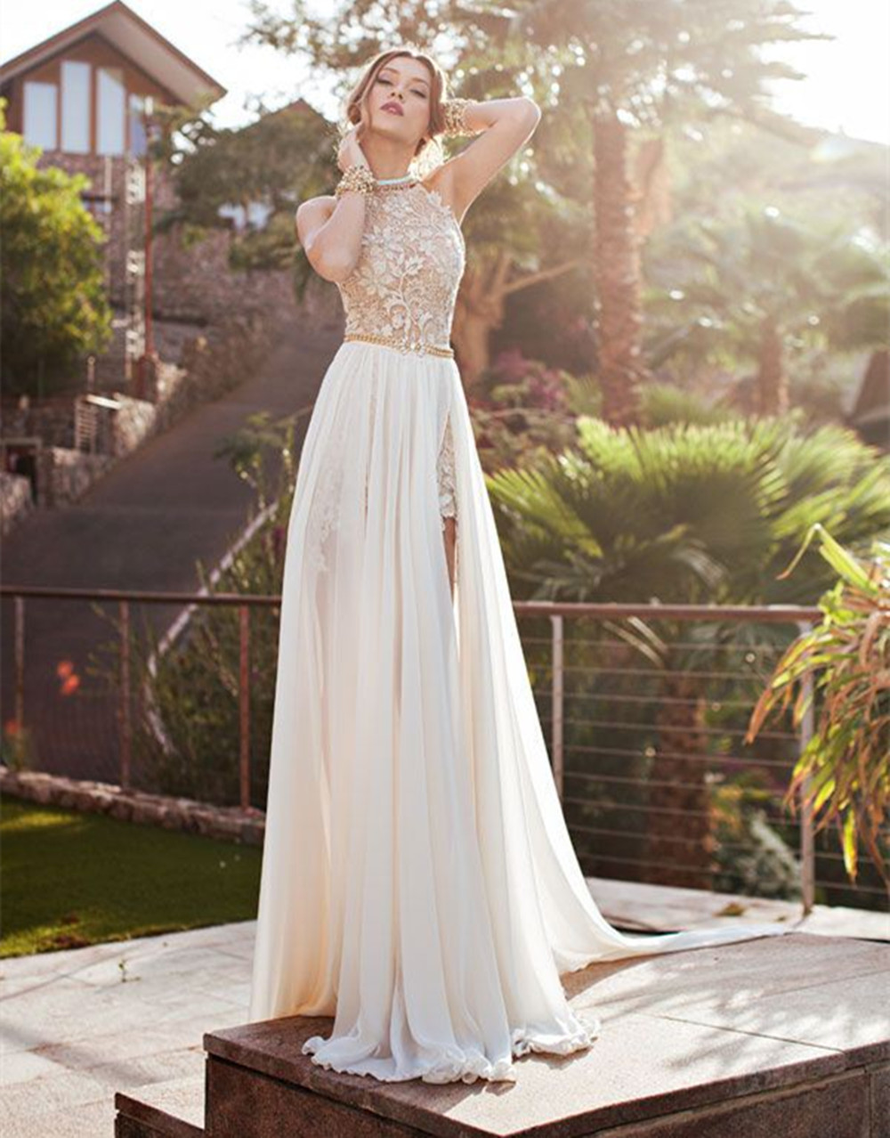 Elegant Women Bohemian Hot Split A-line Halter Rhinestone Bead Lace Chiffon Long Bridal Gown Wedding Dress 2015 Fashion
