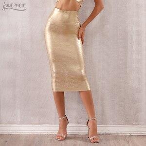 Image 3 - Adyce faldas de estilo vendaje para mujer, faldas ajustadas de media pantorrilla doradas, sexys, para fiesta de celebraciones y clubes, 2020