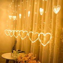 LED Heart-shaped Hanging Curtain Lights String Home Decor Holiday Party Romantic Wedding Bedroom Lighting Lamp String Lights cheap Wedding Holiday Christmas Decor Led String Light Decor Holiday Wedding Christmas Party Heart Shape Lamp Valentie s Day