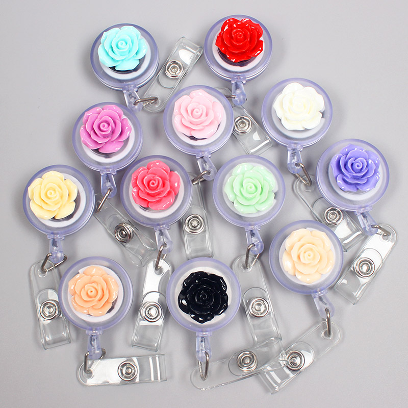 Creative Rose Flowers Resin Retractable Badge Reel Nurse Doctor Student Exhibition ID Card Clips Badge Holder Stationery