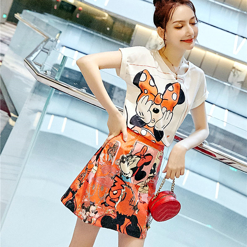 Women Summer Twinsets Cartoon Cute Printed White Tees Blouses Tops And Young Ladies Fashion Casual Party Skirts Suits NS145