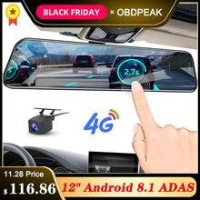12 дюймов Android 8,1 Автомобильный видеорегистратор Камера gps Bluetooth навигация FHD зеркало заднего вида с камерой DVR рекордер 4G Wifi ADAS Dash Cam