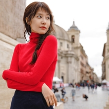INMAN Spring Autumn Female Wool High Collar Fit Wild Models Slim Pullover Sweater