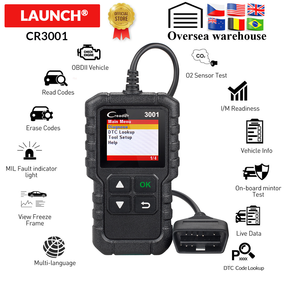 Launch CR3001 Obd2 Code Reader Scanner X431 CR3001 Full Obdii Function Diagnostic Turn Off Engine Light Cr319 Elm327 Ad310