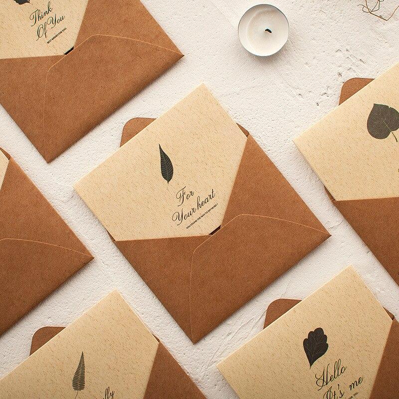 1pc Creative Green Leaf Pattern Blessings Greeting Card Envelope Invitation Business Wedding Thanks Birthday Kraft Paper Card