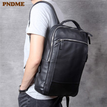 PNDME high quality soft cowhide men's women's backpack casual travel genuine leather large capacity work black laptop backpack