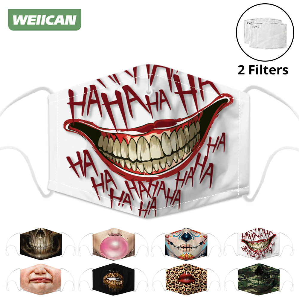 Respirator Face Masks Mouth Caps Digital Printing Dust Protective Mask Activated Carbon Filter Reusable Face Shield Men Women