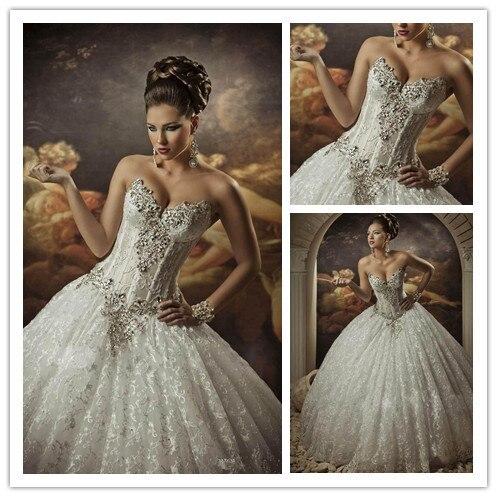 MANSA Vestidos De Noiva 2015 Luxury Crystals Beaded Sweetheart Wedding Dresses Sexy Backless Lace Ball Gown Wedding Dress M017