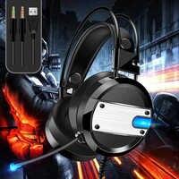 Auriculares LED para Gaming con luces para ordenador Xbox one estéreo sonido envolvente Cancelación de ruido auriculares con cable para Gamer con auriculares con micrófono