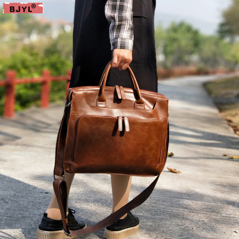 BJYL Retro Pu Leather Handbag Women Bag Briefcase Female Computer Bag  Fashion Shoulder Messenger Bag Art Business Laptop Bags
