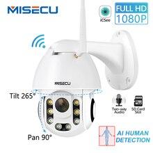 AI MISECU HD 1080P Câmera IP Sem Fio Pan Tilt De Detecção Humana 2MP Poder Cartão SD Câmera De Segurança Ao Ar Livre À Prova D Água adaptador livre