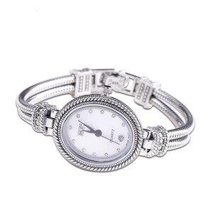 Image 5 - 925 Sterling Thai srebrny inkrustowane niebieski korund bransoletka zegarka kobiet Trendy rocznika japonia zegarek kwarcowy bransoletki biżuteria