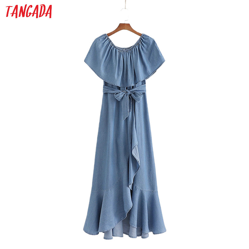 Tangada Women Denim Off Shoulder Dress With Slash Slash Neck Short Sleeve 2020 Summer Females Long Dresses Vestidos 1D196