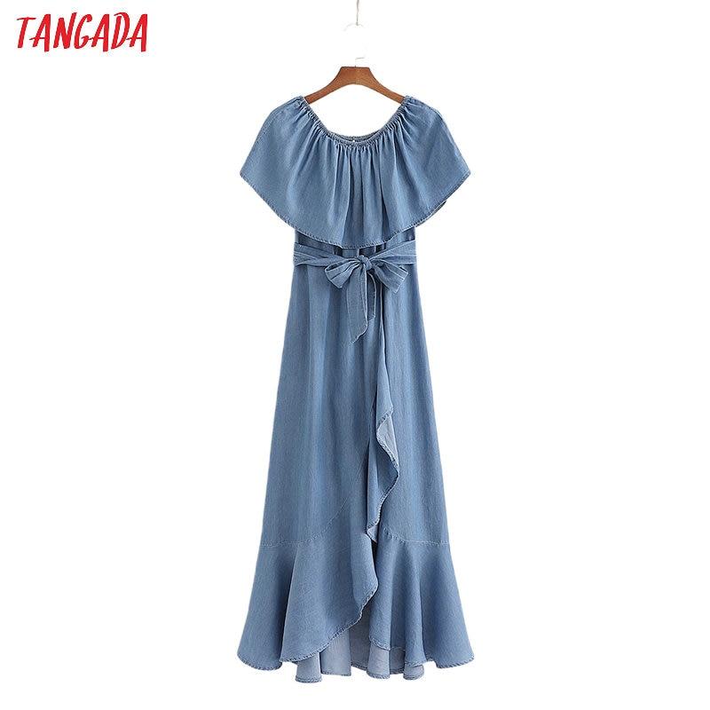 Tangada Women Denim Off Shoulder Dress With Slash Slash Neck Short Sleeve 2020 Summer Females Long Dresses Vestidos 1D196