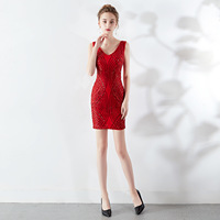 Robe De Soriee New Short Mermaid Evening Dress Full Sequined V Neck Sexy Slim Avondjurk Homcoming Graduation Party Gown