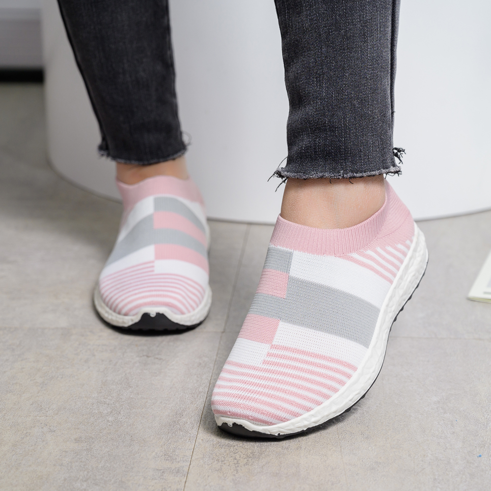 Shoes Women Sock Sneakers 2020 Ladies Trainers Women's Tennis Sports Shoes Knit Summer Slip On Flat Shoes Loafers Plus Size