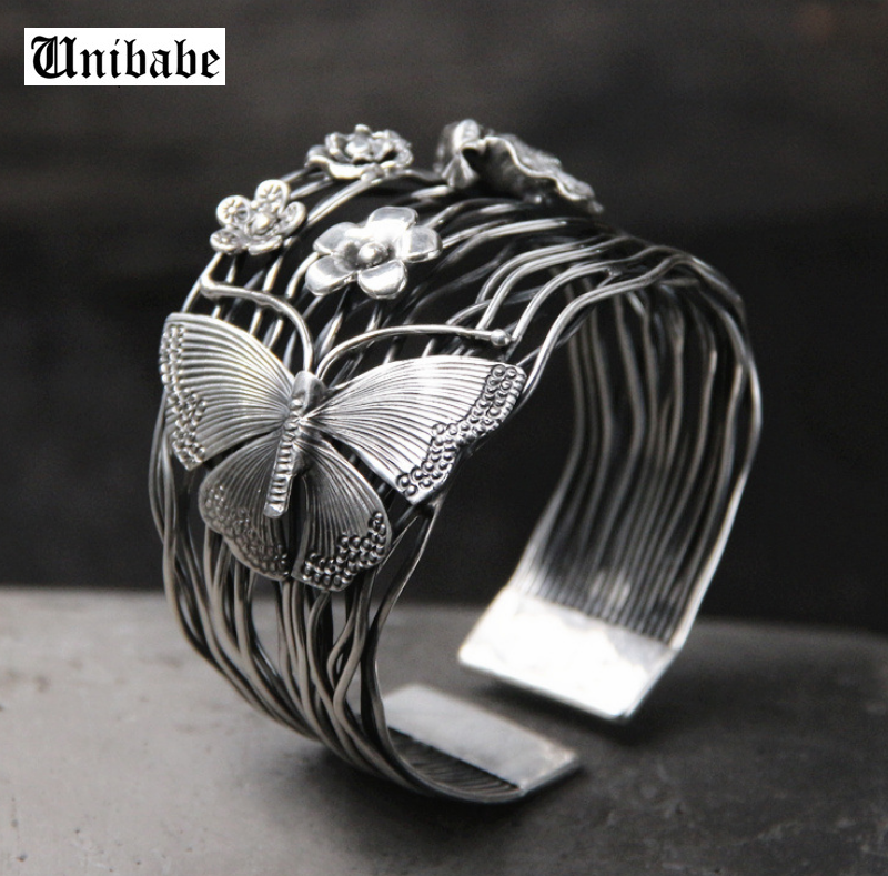 Handmade Pure Silver S925 Sterling Silver Butterfly Anf Flower Trandition Women Bangle