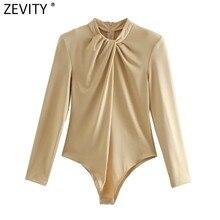 Zevity – body à col rond pour femmes, nouvelle mode, décoration nouée, épaules rembourrées, dos avec fermeture éclair, Slim, siamois Chic, barboteuse LS7321