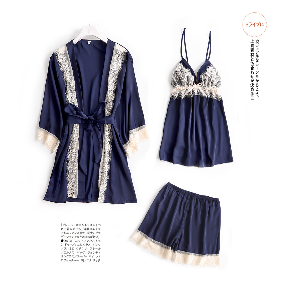 Marriage Bride Pajamas Three-piece Set Suspender Shorts Women's Robes Eyelash Lace Tracksuit-Outer Wear Strip Chest Pad
