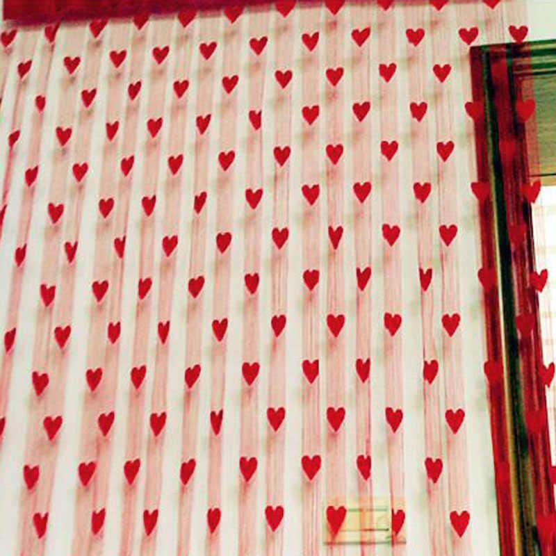 לב טול וילונות מודרני וילונות לסלון שקוף טול וילונות חלון וילונות Sheer וילונות לסלון