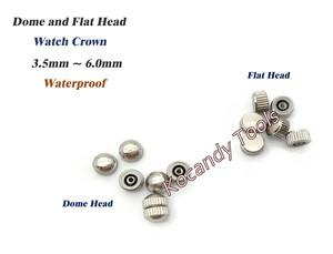 Image 5 - Reemplazo de piezas de corona de reloj a prueba de agua Surtido de cúpula dorada y plateada Accesorios de reloj de cabeza plana Kit de herramientas de reparación para relojero