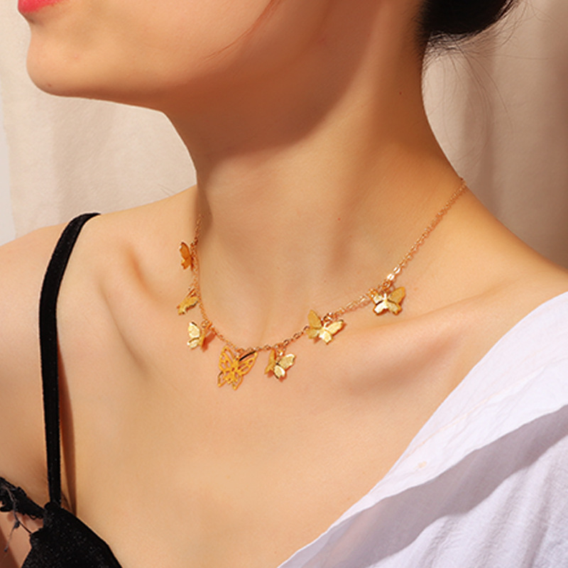 Купить с кэшбэком New Arrival Female Butterfly Gold Pendant Clavicle Chain Alloy Choker Necklace Women Jewelry For Girls Gifts