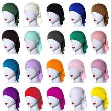 Рамадан, Женская внутренняя шапка под кожу, костяной исламский головной убор, облегающая шапка, однотонная блестящая Арабская трубка, Нижний шарф