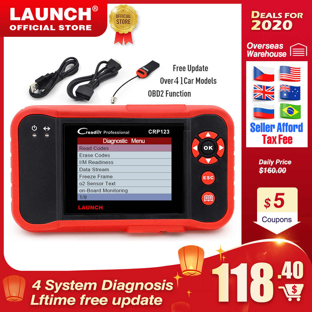 LAUNCH X431 CRP123 OBD2 Automotive Scanner ABS Airbag SRS Transmission Engine Car Diagnostic Tool free update pk Creader vii+