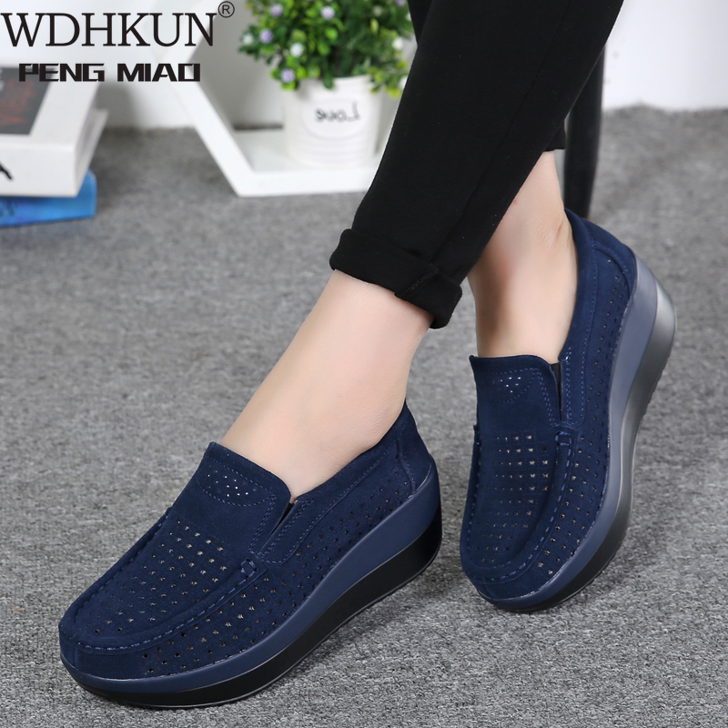 2020 Spring Women Shoes Platform Flats Sneakers Women Suede Leather Women Casual Shoes Slip On Flats Heels Creepers Moccasins