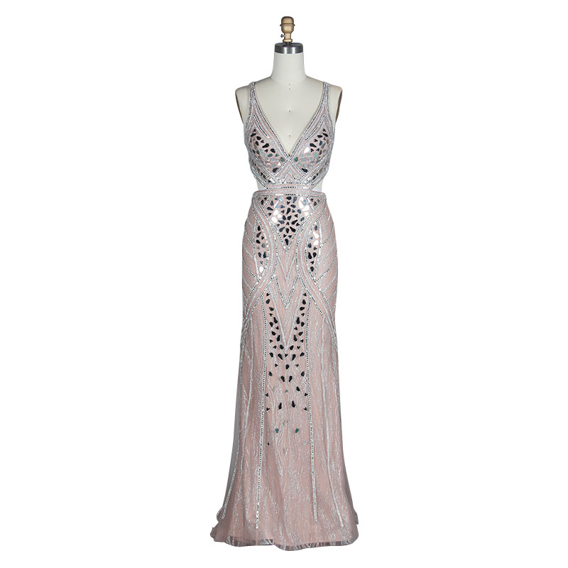 2019 New Evening Dress Fashion Lace Beaded Sexy Backless Long Dress Bride Banquet Elegant Floor Birthday Party in Evening Dresses from Weddings Events