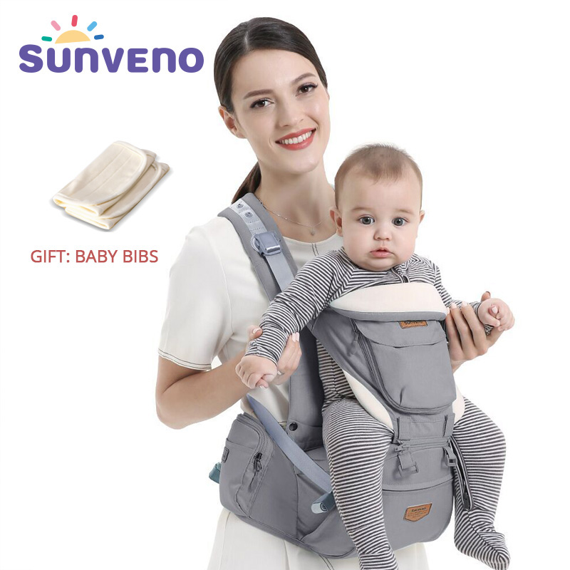 SUNVENO Ergonomic Baby Carrier Infant Baby Hipseat Waist Carrier Front Facing Ergonomic Kangaroo Sling For Baby Travel 0-36M