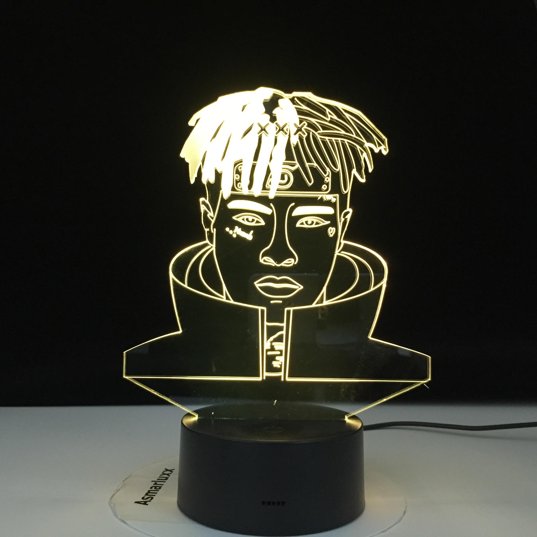 2020 Rapper XXX Tentacion Figurine 3D Illusion Lamp Decoration Night Lights Jahseh Dwayne Ricardo Onfroy Souvenir Gifts For Fans
